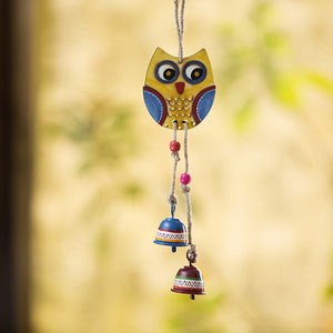 'Owl Motif' Decorative Hanging Metal Wind Chime (2 Bells)