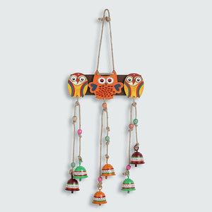 'Triple Owl Motifs' Decorative Hanging Metal Wind Chime (6 Bells)