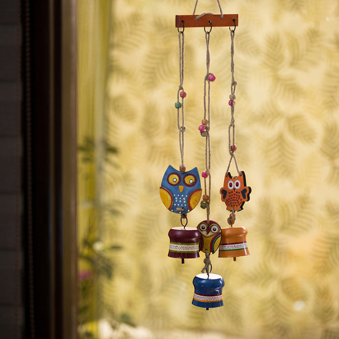 'Triple Owl Motifs' Decorative Hanging Metal Wind Chime (3 Bells)