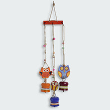 Load image into Gallery viewer, 'Triple Owl Motifs' Decorative Hanging Metal Wind Chime (3 Bells)