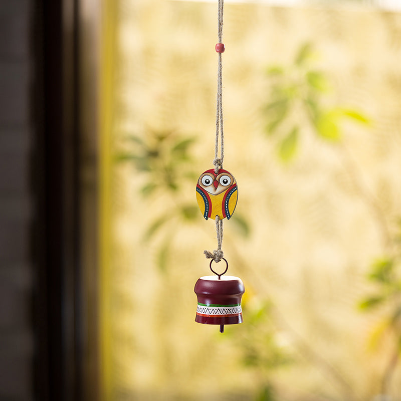'Owl Motif' Decorative Hanging Metal Wind Chime (1 Bell)