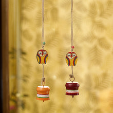 Load image into Gallery viewer, 'Owl Motif' Decorative Hanging Metal Wind Chime Set (2 Bells)