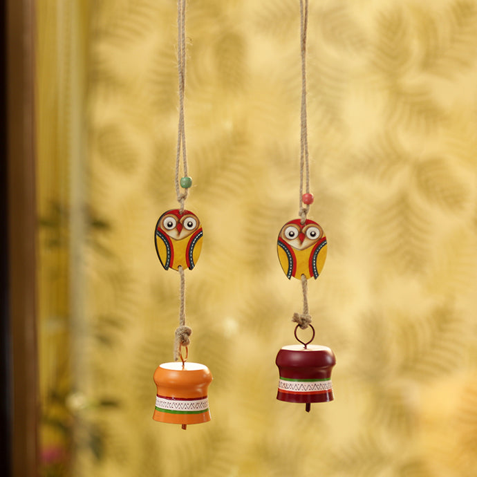 'Owl Motif' Decorative Hanging Metal Wind Chime Set (2 Bells)