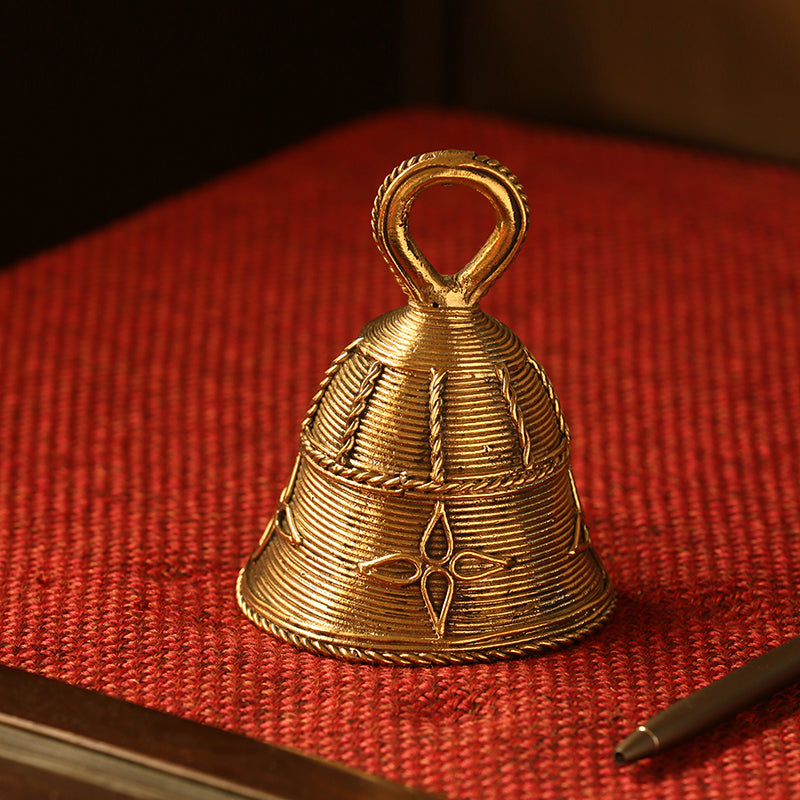 'Tinkling Melody' Handmade Brass Decorative Pooja Bell In Dhokra Art