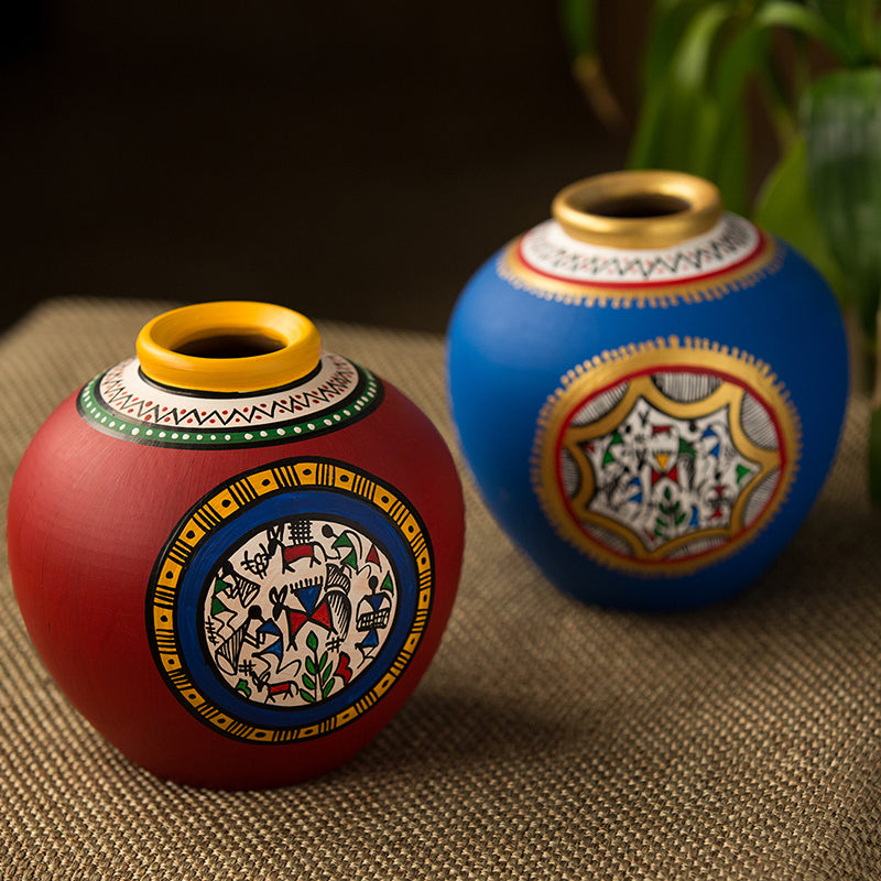 Combo Of Terracotta Handpainted Vases