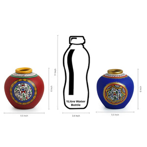 Combo Of Terracotta Handpainted Vases Set Of 3