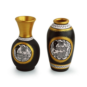 'Urn & Tapered' Vases With Intricate Madhubani Hand-Painting In Terracotta (Set Of 2)