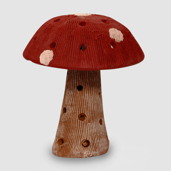 Mushroom Terracotta Handpainted In Red
