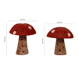Mushroom Terracotta Handpainted Set In Red