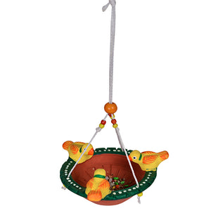Terracotta Handpainted Bird Feeder For Garden