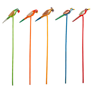 Handmade & Hand-Painted Bird Planter Sticks In Wood