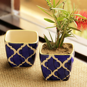 'Moroccan Roots' Handpainted Planters In Ceramic (Set Of 2)