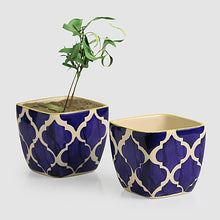 Load image into Gallery viewer, 'Moroccan Roots' Handpainted Planters In Ceramic (Set Of 2)