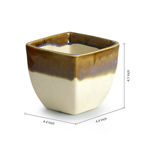 Dual Galzed Studio Pottery Garden & Balcony Planter Pot In Ceramic