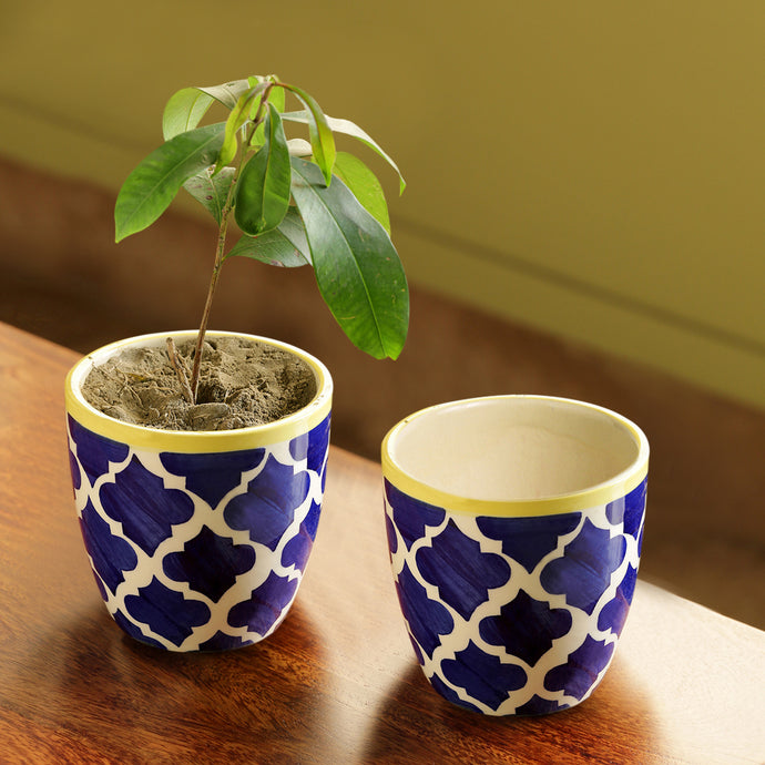 'The Two Morocco Pod' Handpainted Planters Set In Ceramic