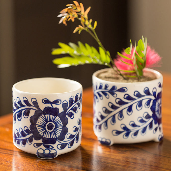 The 'Blooming Buddies' Mughal Hand-Painted Ink Blue Ceramic Planters (Set Of 2)