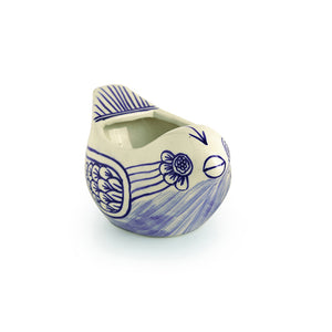 The 'Little Birdy' Mughal Hand-Painted Ink Blue Ceramic Bird Planter