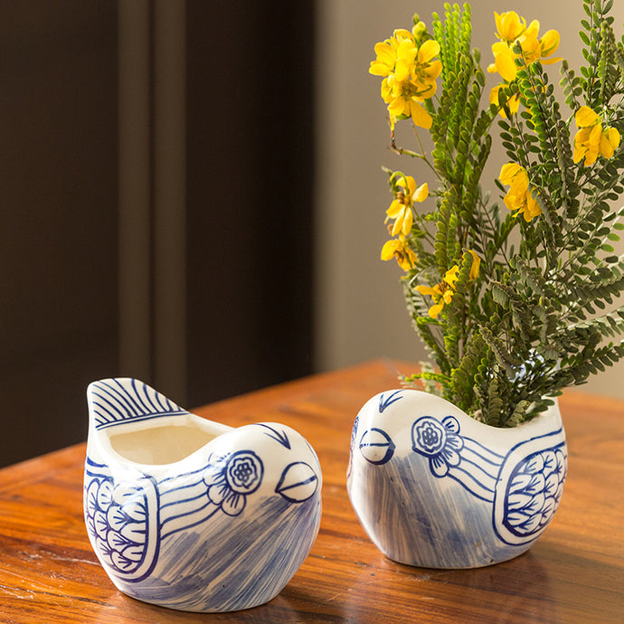 The 'Chirpy Couple' Mughal Hand-Painted Ink Blue Ceramic Planters (Set Of 2)