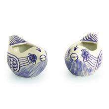 Load image into Gallery viewer, The 'Chirpy Couple' Mughal Hand-Painted Ink Blue Ceramic Planters (Set Of 2)