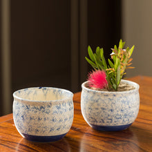 Load image into Gallery viewer, The 'Floral Shades' Mughal Hand-Painted Ink Blue Ceramic Planters (Set Of 2)