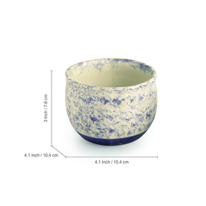 The 'Floral Shades' Mughal Hand-Painted Ink Blue Ceramic Planters (Set Of 2)