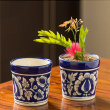 Load image into Gallery viewer, The 'Floral Pictured' Mughal Hand-Painted Ink Blue Ceramic Planter (Set Of 2)