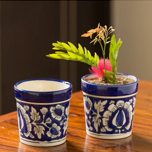 The 'Floral Pictured' Mughal Hand-Painted Ink Blue Ceramic Planter (Set Of 2)