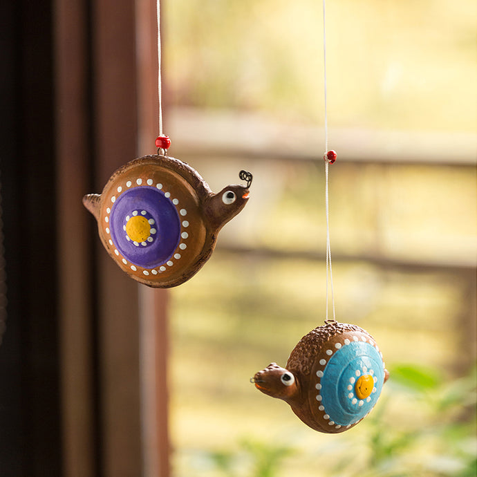 'Spiral Snails' Handmade Garden Decorative Hanging In Terracotta (Set of 2)