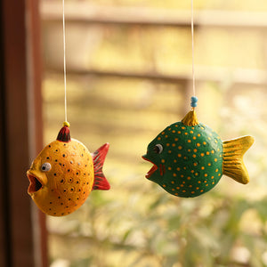 'Happy Fish' Handmade Garden Decorative Hanging In Terracotta (Set of 2)