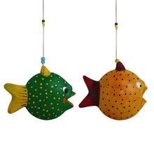 Load image into Gallery viewer, 'Happy Fish' Handmade Garden Decorative Hanging In Terracotta (Set of 2)