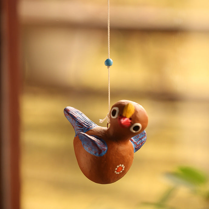 'Chirping Cuckoo' Handmade Garden Decorative Hanging In Terracotta