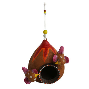 'Cuckoo Family' Handmade Bird House In Terracotta