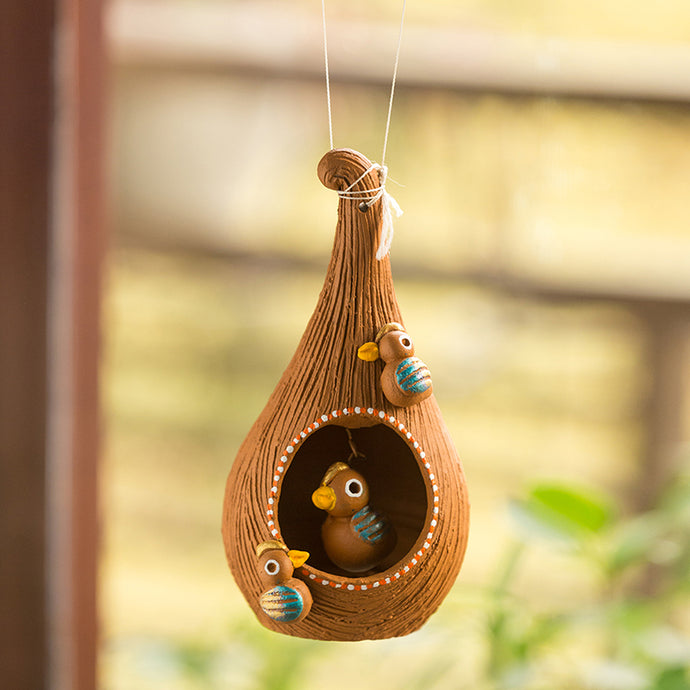'Cuckoo in a Nest' Handmade Garden Decorative Bird House In Terracotta