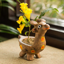 Load image into Gallery viewer, 'Smiling Giraffe' Handmade Garden Decorative Planter In Terracotta