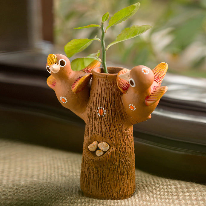 'Baby Cuckoos' Handmade Decorative Garden Table Cum Wall Showpiece In Terracotta