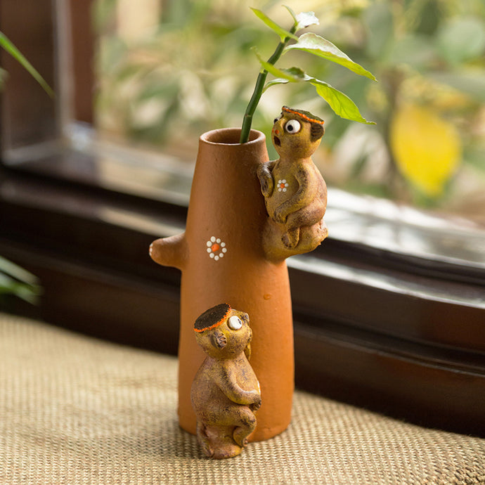 'Chattering Monkeys' Handmade Garden Decorative Table Cum Wall Showpiece In Terracotta
