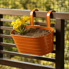 Load image into Gallery viewer, 'Glossy Orange' Hand-Painted Metal Railing Cum Table Planter Pot