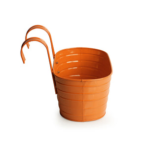 'Glossy Orange' Hand-Painted Metal Railing Cum Table Planter Pot