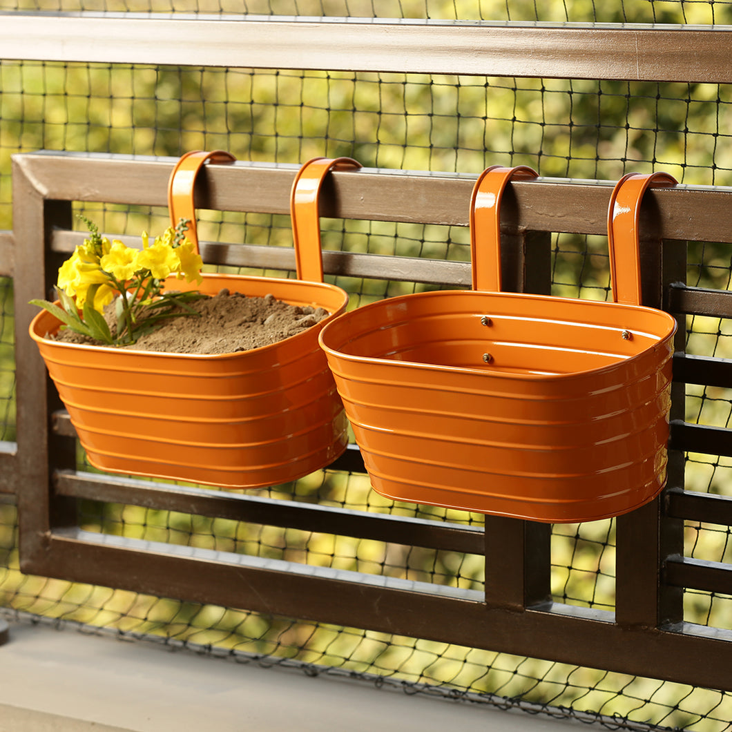 'Glossy Orange' Hand-Painted Metal Railing Cum Table Planters Pot (Set Of 2)