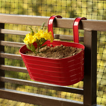 Load image into Gallery viewer, 'Glossy Red' Hand-Painted Metal Railing Cum Table Planter Pot