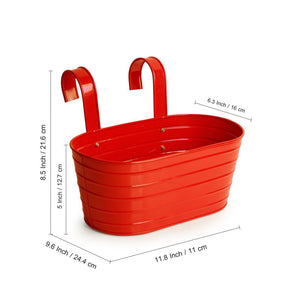 'Glossy Red' Hand-Painted Metal Railing Cum Table Planter Pot