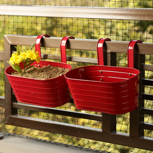 'Glossy Red' Hand-Painted Metal Railing Cum Table Planters Pot (Set Of 2)