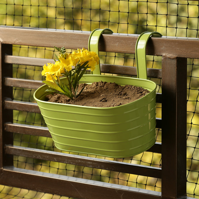 'Grass Green' Hand-Painted Metal Railing Cum Table Planter Pot