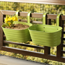 Load image into Gallery viewer, 'Grass Green' Hand-Painted Metal Railing Cum Table Planters Pots (Set Of 2)