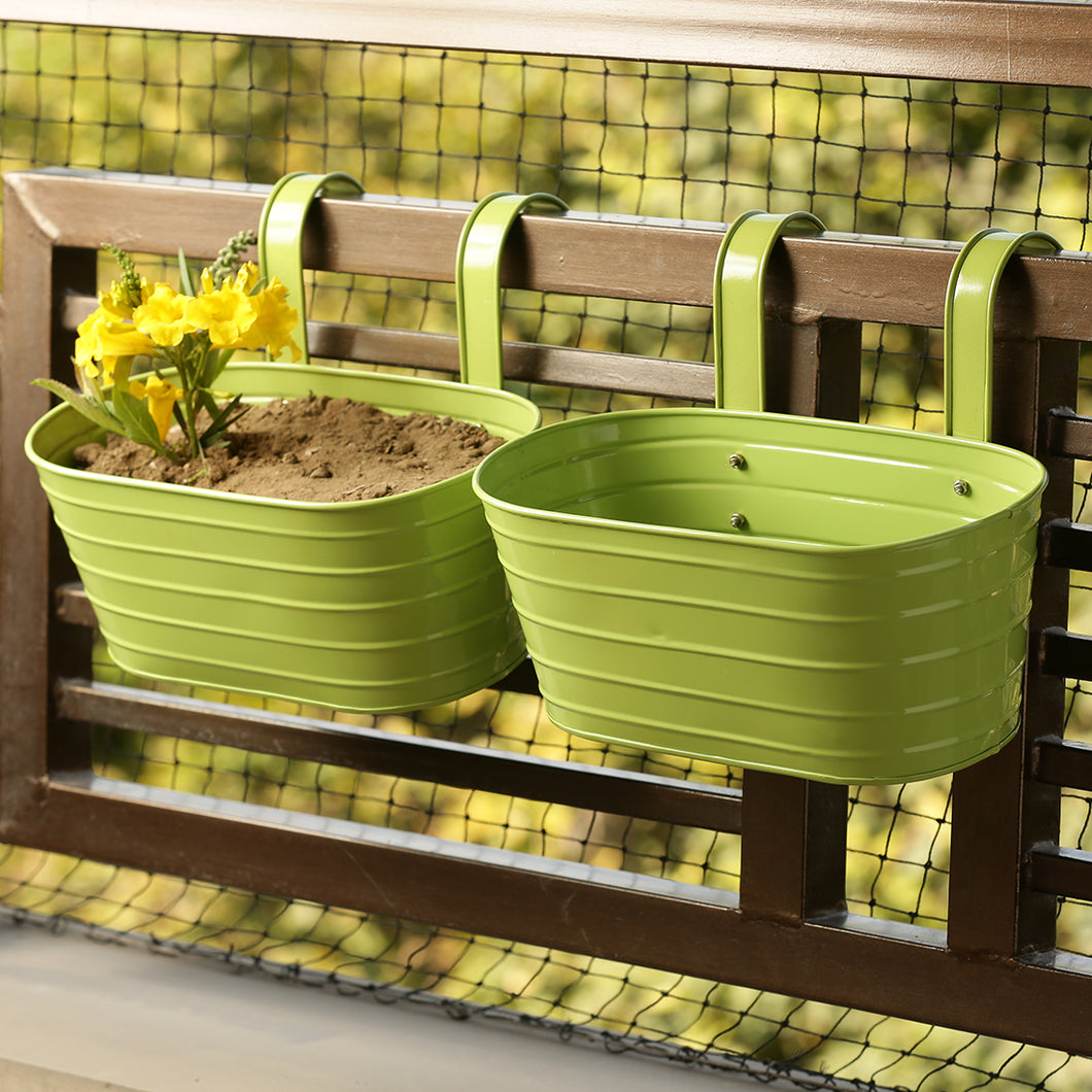 'Grass Green' Hand-Painted Metal Railing Cum Table Planters Pots (Set Of 2)