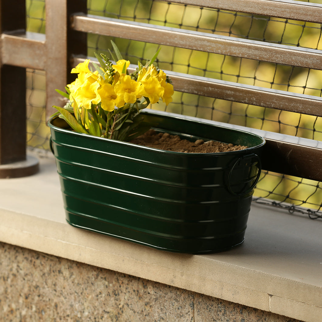 'Emerald Green' Hand-Painted Metal Floor Cum Table Planter Pot