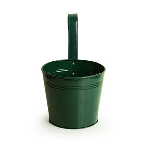 'Emerald Green' Hand-Painted Metal Railing Cum Table Planter Pot
