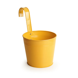 'Matte Yellow' Hand-Painted Metal Railing Cum Table Planter Pot