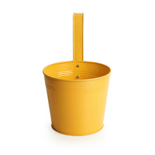 Load image into Gallery viewer, 'Matte Yellow' Hand-Painted Metal Railing Cum Table Planter Pot