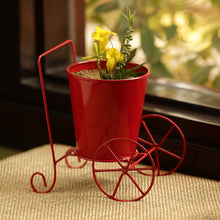 Load image into Gallery viewer, 'Plant On Wheels' Table Cum Floor Planter Pot In Glossy Red
